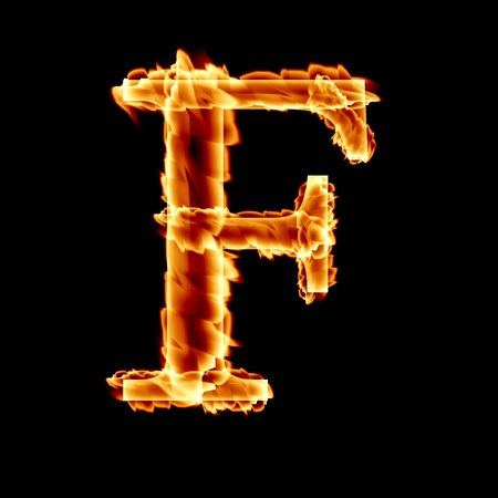 burning letter: fire font: letter F on a dark background Stock Photo