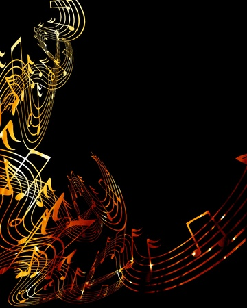 music notes on a dark black background Stock Photo - 10340880