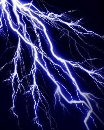volts: Lightning flash on a dark black background