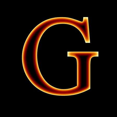 burning letter: fire font: letter G on a dark background Stock Photo
