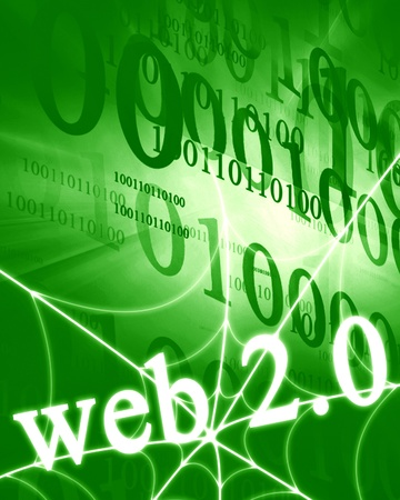web 2.0 on a bright green background photo