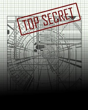 military draft: top secret blue print on office paper Stock Photo