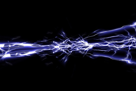 Electrical sparks on a dark black background photo