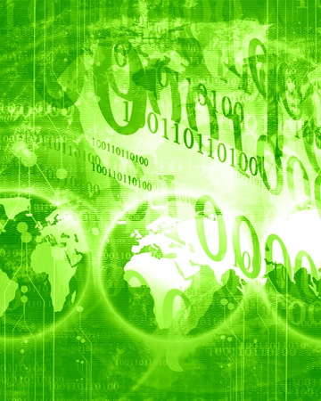 digital world on a bright green background photo