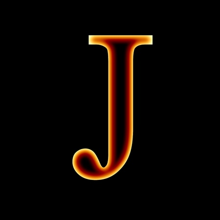 fire font: letter J on a dark background photo