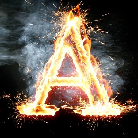 burning alphabet: fire font: letter A on a dark background