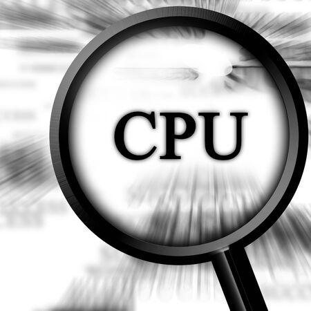 cpu on a white background with a magnifier photo