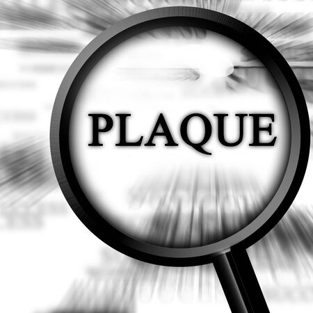 bloodstream: plaque on a white background with a magnifier