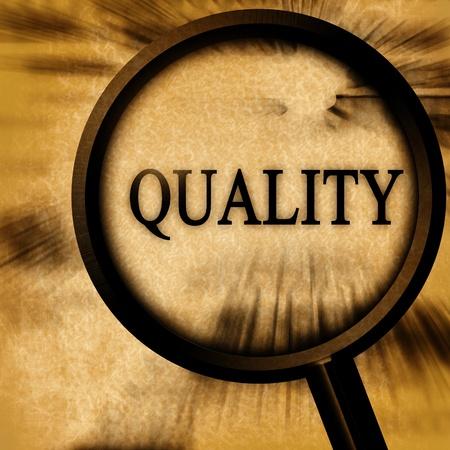 control de calidad: calidad sobre un fondo grunge con una lupa