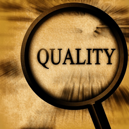 regulated: quality on a grunge background with a magnifier