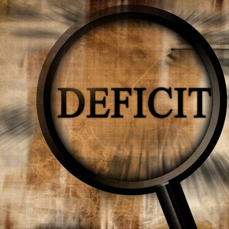 deficit: deficit with magnifier on a brown background Stock Photo