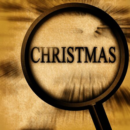 christmas on a grunge background with a magnifier on it Stock Photo - 10344324