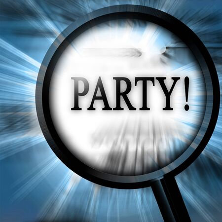 party on a blue background with a magnifier Stock Photo - 10342057