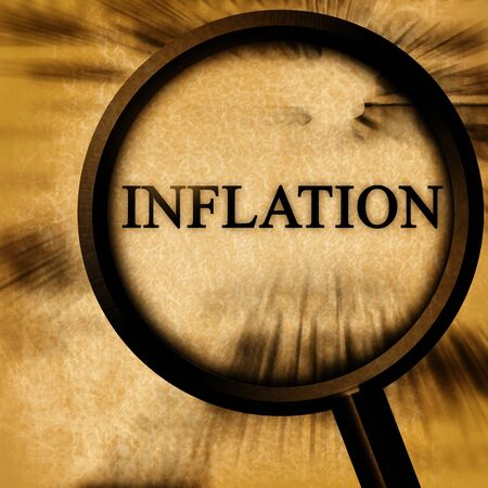 page down: inflation on a grunge background with a magnifier