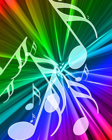 music notes on a beautiful rainbow background Stock Photo - 10342439