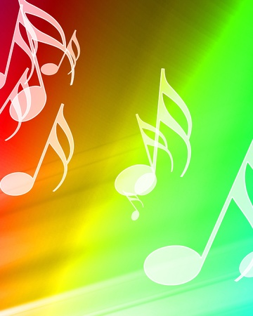 music notes on a beautiful rainbow background Stock Photo - 10340699