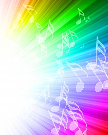swirling: music notes on a beautiful rainbow background
