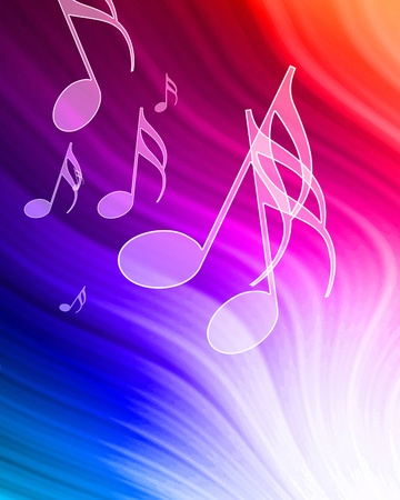 music notes on a beautiful rainbow background photo