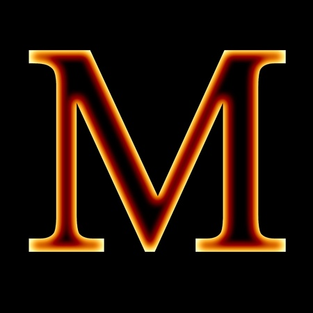 burning alphabet: fire font: letter M on a dark background