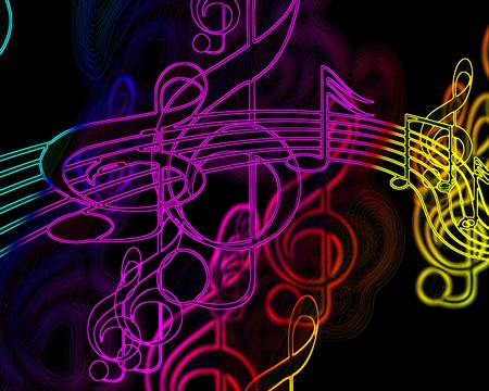 colorful music notes on a black background Stock Photo - 10342775