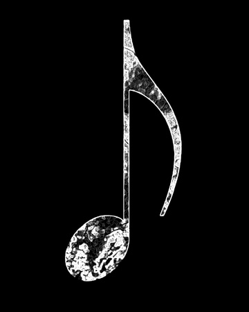 grunge music note on a black background