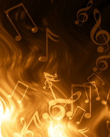 entertainment event: music notes on a soft brown background