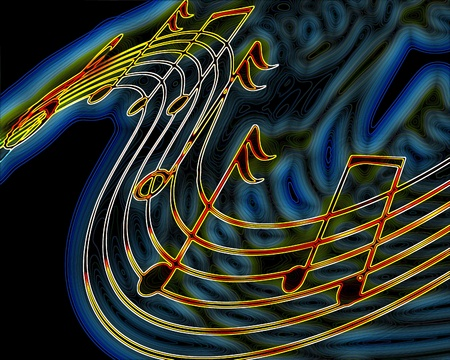 yellow music notes on a blue background Stock Photo - 10341950