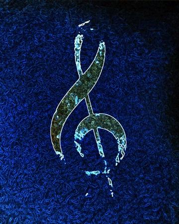 music note on a dark blue background