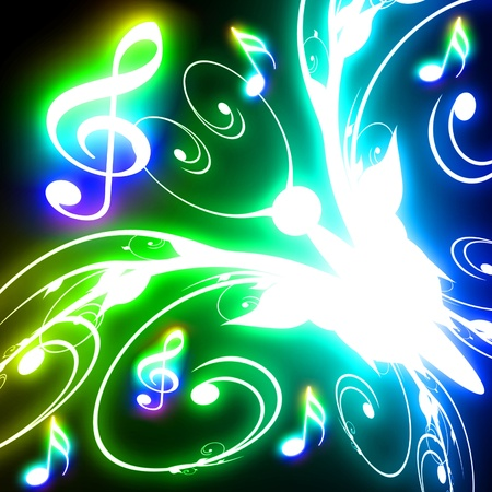 music composition: abstract butterfly and music notes on a dark background Stock Photo