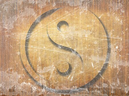 wooden board with the yin yang sign on it Stock Photo - 10341377