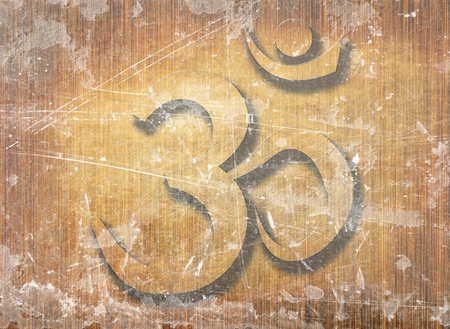 wooden board with the om aum symbol on it Stock Photo