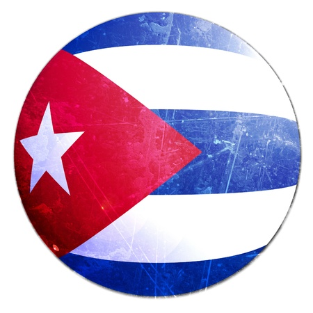 cuban flag on a solid white background photo