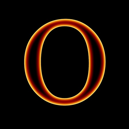 burning letter: fire font: letter O on a dark background