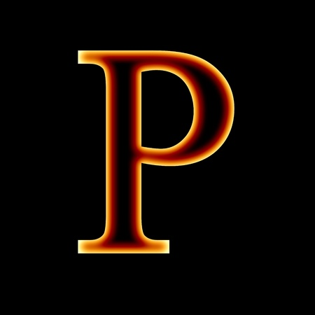 fire font: letter P on a dark background