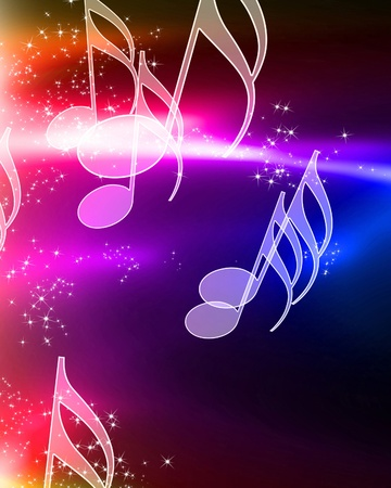 music notes on a beautiful rainbow background Stock Photo - 10342066