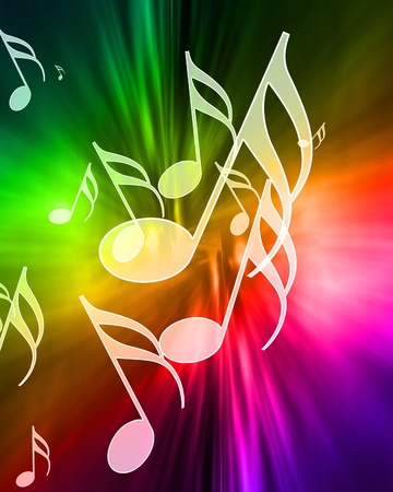 music notes on a beautiful rainbow background