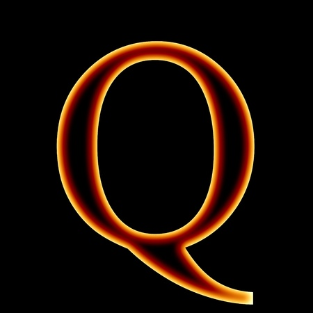 burning letter: fire font: letter Q on a dark background