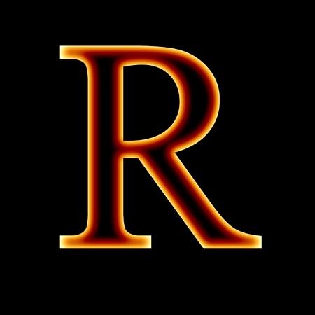 burning alphabet: fire font: letter R on a dark background Stock Photo