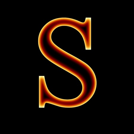 fire font: fire font: letter S on a dark background Stock Photo