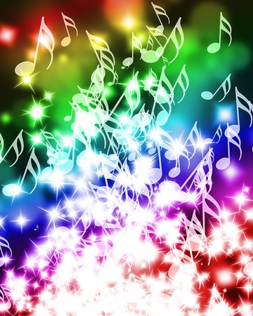 colorful music notes on a beautiful rainbow background Stock Photo - 10342373