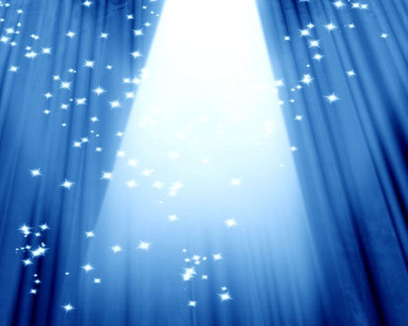 Movie or theater curtain on a blue background Stok Fotoğraf