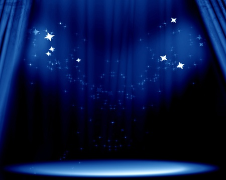 Curtain background with spotlights and bright glitters photo