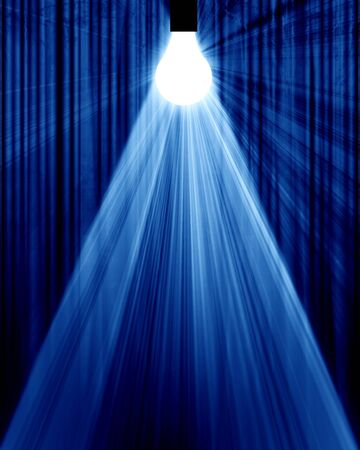 Movie or theater curtain with a glowing lightbulb Stock Photo - 10342138