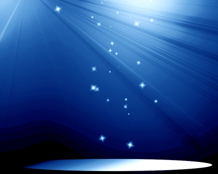 hollywood stars: Stage with blue spotlight and sparkles in it Stock Photo