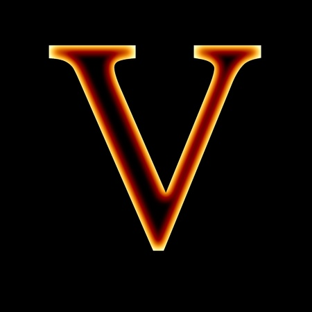 fire font: letter V on a dark background