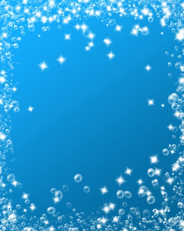 water bubbles on a soft blue background photo