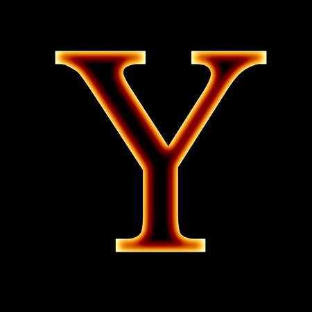 fire font: letter Y on a dark background