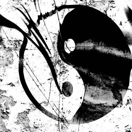 Yin yang symbol on a black background photo
