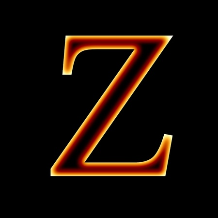 fire font: letter Z on a dark background