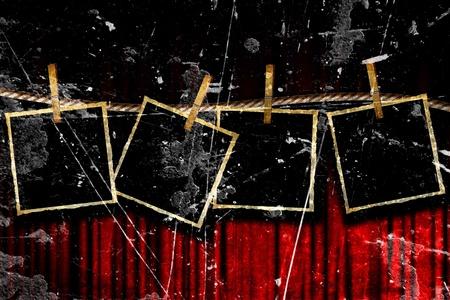 theatre: Film oder Theater Vorhang mit einigen Bildern Lizenzfreie Bilder